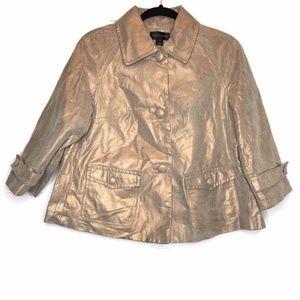 Bagatelle Womens Gold Shimmer Leather Jacket Short